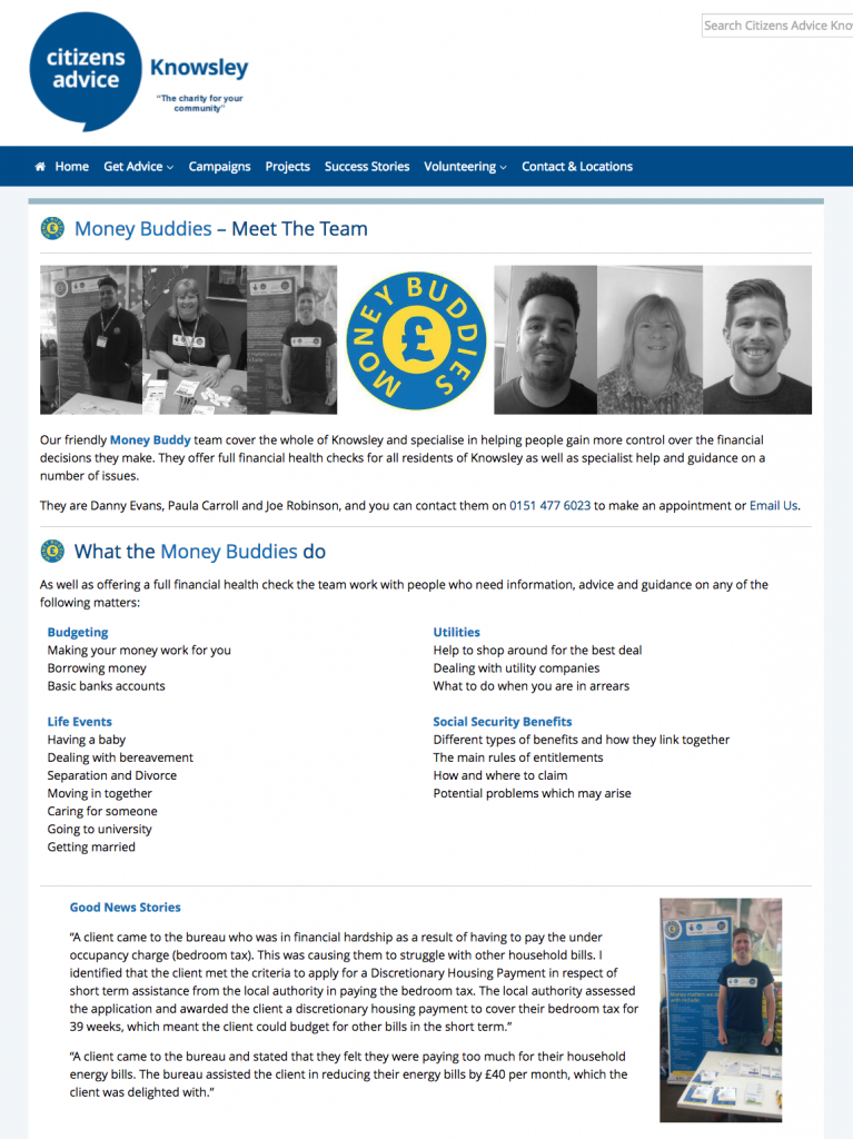 money buddies webpage